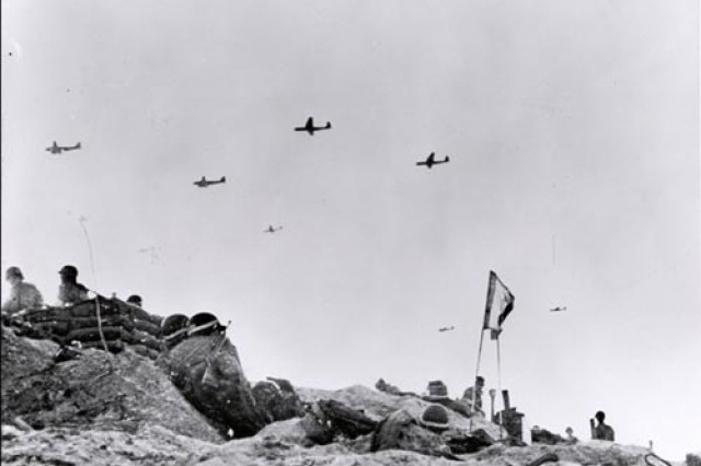 Gliders fly supplies to Soldiers fighting on Utah Beach during the Allied Invasion of Europe, D-Day, June 6, 1944.