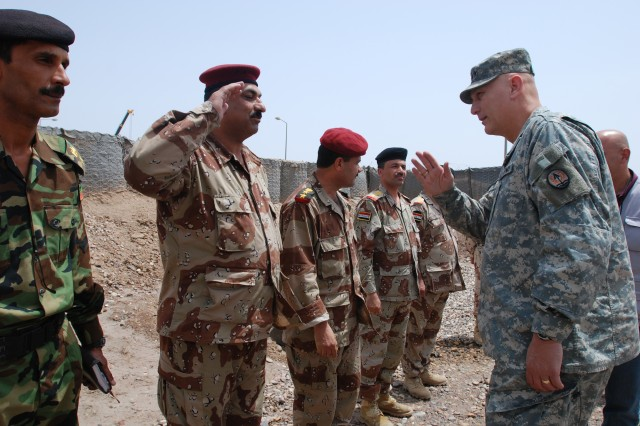 Lt. Gen. Ray Odierno greets Iraqi Soldiers during his visit to Contingency Operating Base Basra, Iraq, April 26.