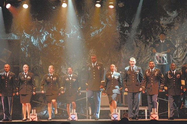 The U.S. Army Soldier Show cast, all active-duty Soldiers, performs their last act of the evening at the MG Robert B. Solomon Center on Sunday for their annual traveling road show.