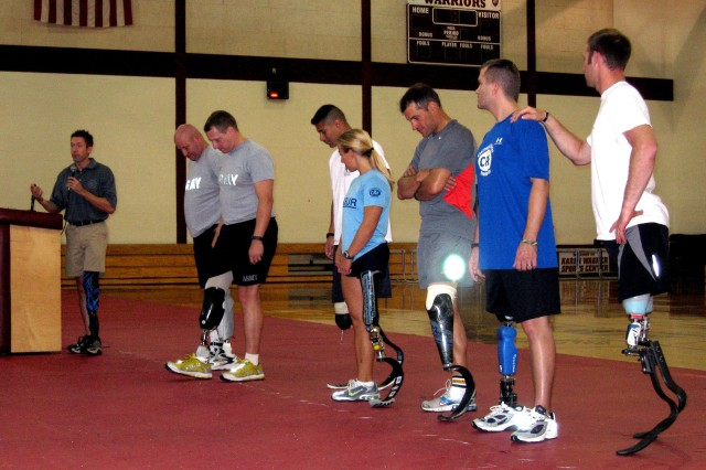 Brian Frasure, a clinical prosthetist and world-class athlete, speaks to the audience on the last day of the Military Amputees Advances Skills Training workshop June 1 at Walter Reed Army Medical Center.