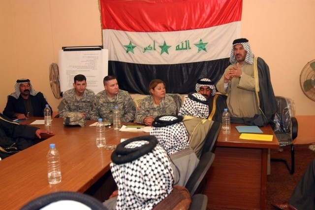 A sheik addresses council members at the North Babil Tribal Council in March, held at Forward Operation Base Kalsu, Iraq. This council was formed as part of an effort to quell sectarian violence between rival tribes.