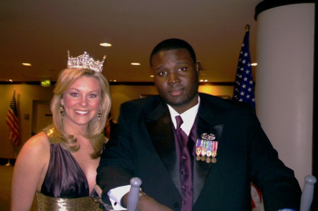 SGT Anthony Bentley shares a moment with Miss America 2007 Lauren Nelson at the Los Angeles area Army Ball on June 1. (photo provided by the Greater Los Angeles Chapert of the Association of the United State Army)