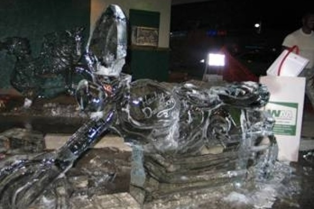 This Harley Davidson ice sculpture, one of three sculptures carved by CW4 Robert Sparks, Ft. Lee, Va., and Sgt. First Class Andre Rush, West Point, N.Y., at the Berwyn, Ill. International Food Festival was loved by the festival attendees.