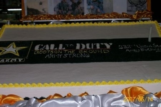 """The Army Birthday cake illustrates this year's birthday theme, Call to Duty: """"Boots on the Ground,"""" Army Strong for the troops in Iraq. The cake was shared during lunch at the dining facility in the United States Embassy, Baghdad celebrating the Army's 232 years of service to our Nation June 14."""
