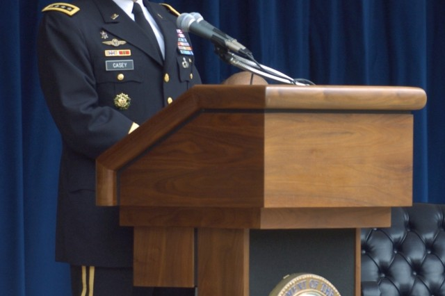 Chief of Staff of the Army Gen. George Casey speaks during the Army Birthday Cake Cutting Ceremony at the Pentagon, June 14.