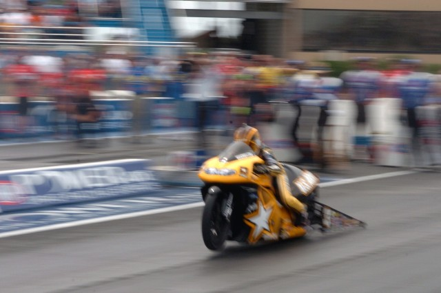 Angelle Sampey accelerates down the raceway at the Torco Racing Fuels Route 66 Nationals at the Route 66 Raceway. She was taken out in the semifinals in Chicago on June 10.