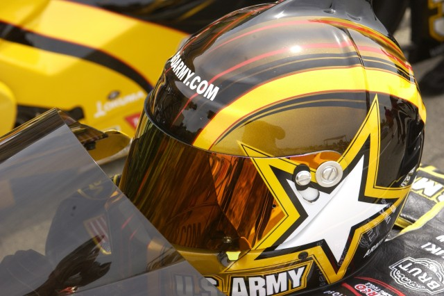 Army Suzuki pilot Antron Brown's helmet sits on his bike before his first and only race on June 10 at the Torco Racing Fuels Route 66 NHRA Nationals in Chicago. Mr. Brown committed a red-light foul and lost to Geno Scali, even though he was faster down the track.
