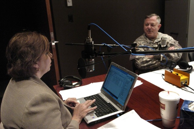 Lt. Gen. R. Steven Whitcomb, Third Army/U.S. Army Central commanding general, answers questions from radio talk show host Martha Zoller at the Digital Video Imagery Distribution System Hub in Atlanta June 14. Whitcomb and two Soldiers from Third Army, Capt. Camala L. Coats and Sgt. 1st Class Christian Estores, were guests on The Martha Zoller Show to celebrate the 232nd birthday of the U.S. Army.