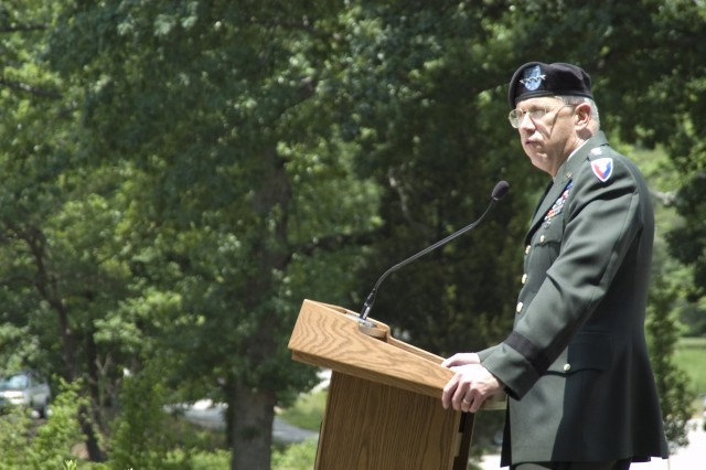 Gen. Benjamin S. Griffin, AMC commanding general, gives the key note speech during the AMC Army Birthday Celebration held June 13.