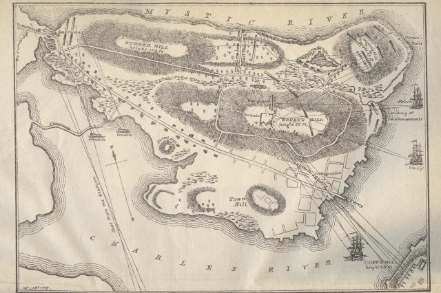 An illustrated map of the battle ground on Charlestown peninsula, encompassing Bunker and Breed's Hills. (George E Ellis. History of the Battle of Bunker's [Breed's Hill] on June 17,1775.... Boston:1875).