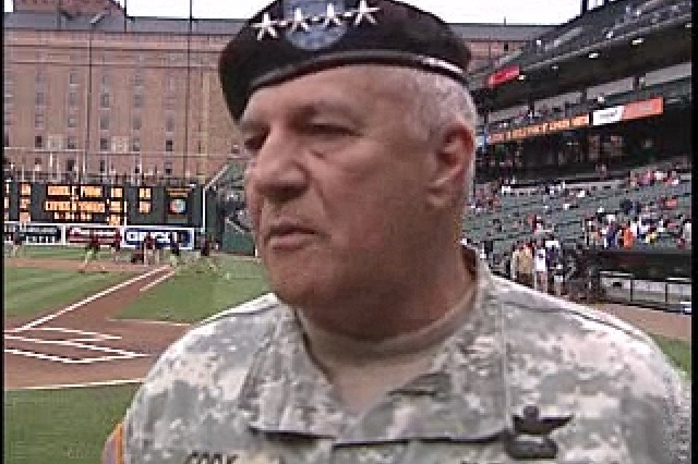 Army Vice Chief of Staff General Richard Cody attended the Baltimore Orioles game.