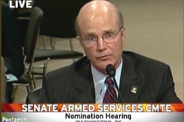 Acting Secretary of the Army Pete Geren at the Senate nomination hearings.