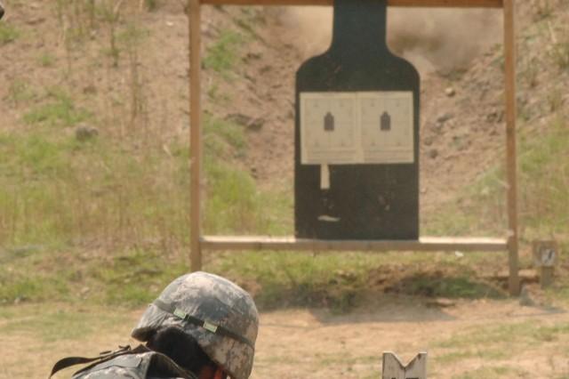Staff Sgt. Britton fires for score.