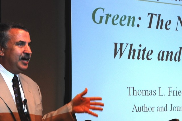 """Three-time Pulitzer Prize winner and New York Times author and journalist Tom Friedman speaks on """"Green: The New Red, White and Blue"""" at an Army Environmental Policy Institute sustainability lecture series in Arlington, Va."""