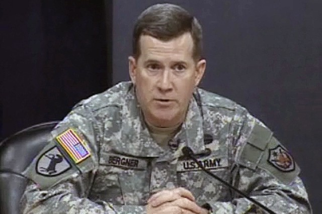 Brig. Gen. Bergner speaks with reporters in Baghdad, Iraq.