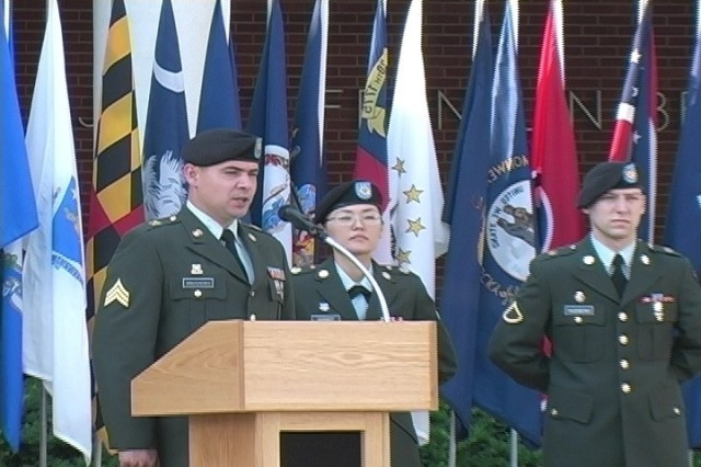 Sgt. Oleg Kravchenko, 705th Military Police Battalion, discusses why he is proud to be a Soldier during the Fort Leavenworth Army Birthday ceremony on June 14.  The ceremony took place on Fort Leavenworth on Abrams Loop in front of Bell Hall.
