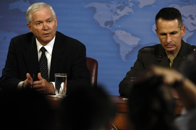 Secretary of Defense Robert M. Gates conducts a press conference with U.S. Marine Gen. Peter Pace, chairman of the Joint Chiefs of Staff, at the Pentagon, June 29, 2007.