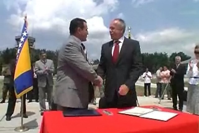 U.S. and NATO base used for peacekeeping in Bosnia-Herzegovina is turned over to the Bosnian government.