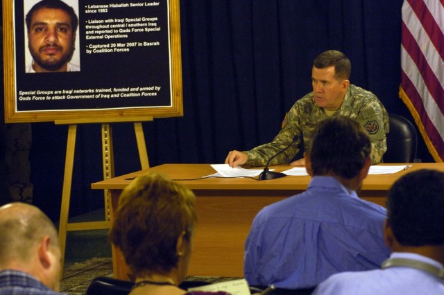 Brig. Gen. Kevin J. Bergner, spokesman for Multinational Force Iraq, conducts a news conference at the Combined Press Information Center in Baghdad, July 2.