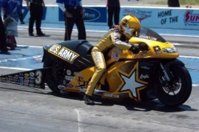 Angelle Sampey, US Army Pro Stock Motorcycle rider, rides her motorcycle at the Atlanta Dragway.  She lost this weekend's race in the semifinals by a fraction of a second.