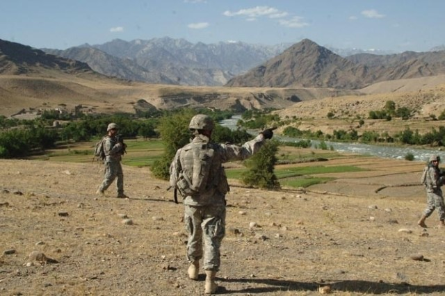 Soldiers patrol isolated areas of the province.