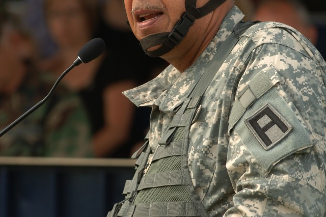 Lt. Gen. Russel L. HonorAfA, commanding general, First Army, addressess the Soldiers and family members of the 316th Sustainment Command (Expeditionary) during the 316th's farewell ceremony Monday at Fort Bragg, N.C.