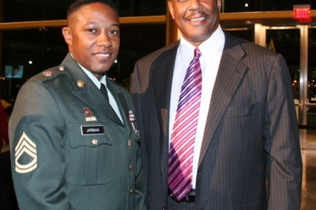Sgt. 1st Class Derryc A. Jarman with NAACP interim President Dennis Courtland Hayes at the Presidents Reception.