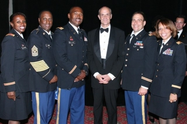 From Left: Maj. (ret.) Patricia Overton, Capt. Anton Bellamy, Michael Chertoff, Secretary of the Department of Homeland Security, Lt. Col. Lance Hilton and Maj. Lisa Bellamy at the annual NAACP Armed Services & Veterans Affairs Dinner.