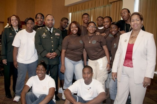 Maj. Lisa M. Bellamy Recruiting Operations Officer and Maj. Clifford F. Buttram, Jr. Army officer Education Program, from University of Michighan, with NAACP Youth and College division students.