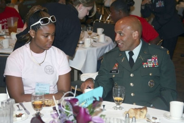 Col. Anthony Reyes spends his afternoon at the NAACP Roy Wilkins Youth Leadership Luncheon, talking to students from across the nation visiting the NAACP Convention. The U.S. Army was a Co-Sponsor of the Luncheon, hosting 500 students.