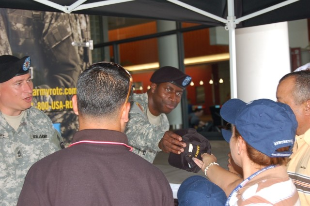 Capt. Efrem S. Gibson, Company Commander, Kansas City Recruiting Battalion along with several other recruiters worked the exhibits all week interacting with hundreds of convention participants.