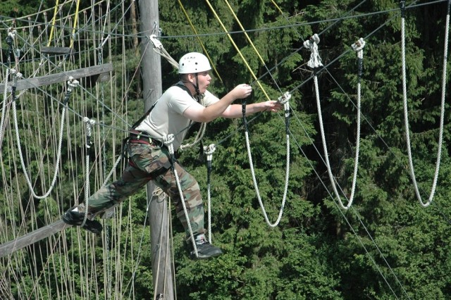 Timothy Wright, Wuerzburg High School, completes the challenging ropes course.
