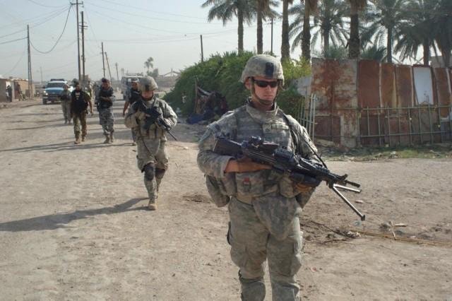 Pfc. Sam Cochran leads a patrol.
