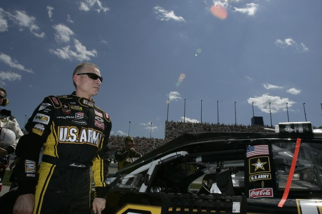 """Mark Martin came from the back of the field after wrecking his primary car in the early moments of Saturday's first practice session. He credited his team for the """"awesome comeback"""" and compared the effort to what Soldiers do. """"Fighting back and overcoming adversity is what our Soldiers do every day,"""" he said."""