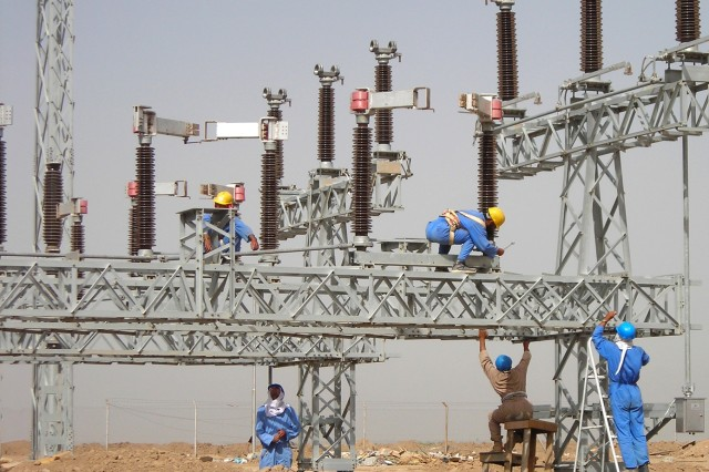 Iraqi workers prepare to install the main switchgears in Gulf Region South's Maysan Province 400 kV substation.