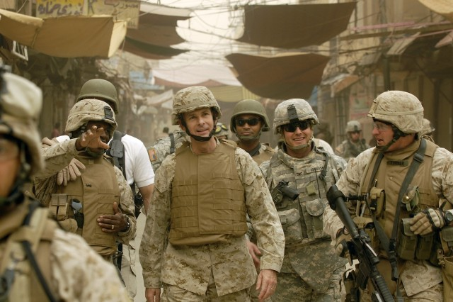 Gen. Pace walks through Ramadi, alongside Soldiers and Marines.