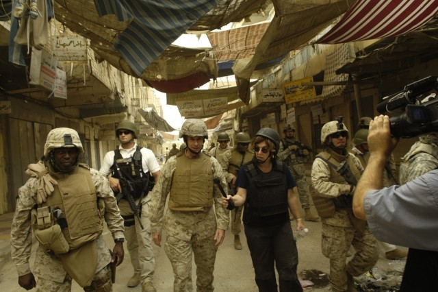 Gen. Pace is interviewed by CNN reporter Barbara Starr, as they stroll through Ramadi.