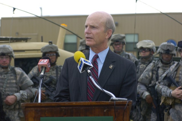 Secretary of the Army Pete Geren speaks to members of the media about his visit to Fort Riley during a press conference at the Kansas-based post, July 20.
