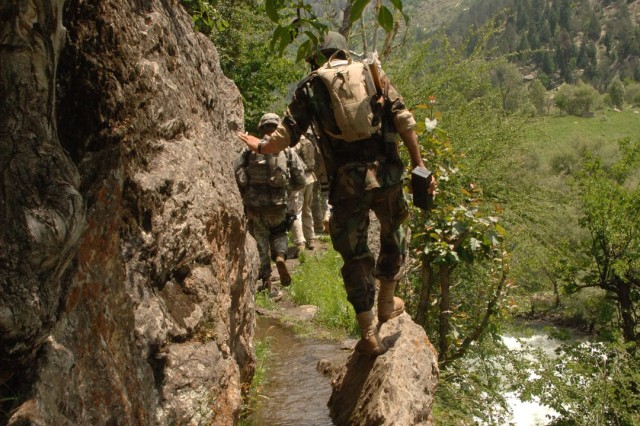 Soldiers find their trail flooded.