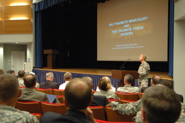 Dr. (Col.) Elspeth Cameron Ritchie, one of the developers of the Army's Post Traumatic Stress Disorder and mild Traumatic Brain Injury chain teaching program, trains senior Army leaders at the Pentagon.