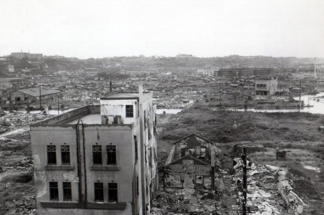 A view of firebombed Yokohama, Japan where a few steel and concrete structures still stand.