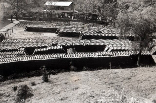 Japanese 199kg and 50kg aerial bombs, as they were found, laid out in a school yard in Chichibu, Honshu, Japan. (September 20, 1945)