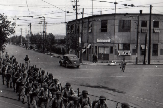 Soldiers of the 1st Cavalry Division arrive to occupy Yokahama, Japan. (September 2, 1945)