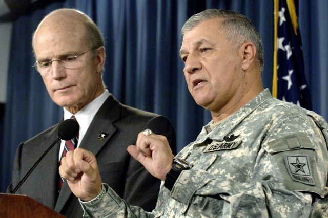 PENTAGON BRIEFING - Secretary of the Army Peter Geren (left) and Army Vice Chief of Staff Gen. Richard Cody (right) hold a joint press conference at the Pentagon, July 31, 2007, to discuss the mishandling of the investigation into the death of Cpl. Patrick Tillman. Tillman, a safety for the National Football League's Arizona Cardinals, enlisted in the Army following the terrorist attacks of 2001 and was serving in Afghanistan as an Army ranger at the time of his death, in April 2004.