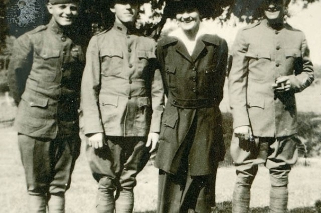 World War I nurse Linnie Leckrone stands with her brothers, who also served in the war. Left to right: Orris, Dwight, Linnie and Lyle Leckrone. Linnie Leckrone, was one of the first females authorized to wear the Silver Star.