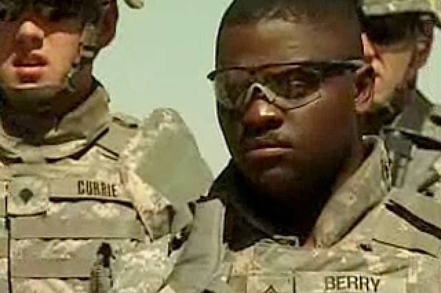 """Video capture of Soldiers in formation, taken from the 6 Aug 2007 """"Army Today"""" episode featuring CSM Bobby Moore commenting on Soldiers and stress."""
