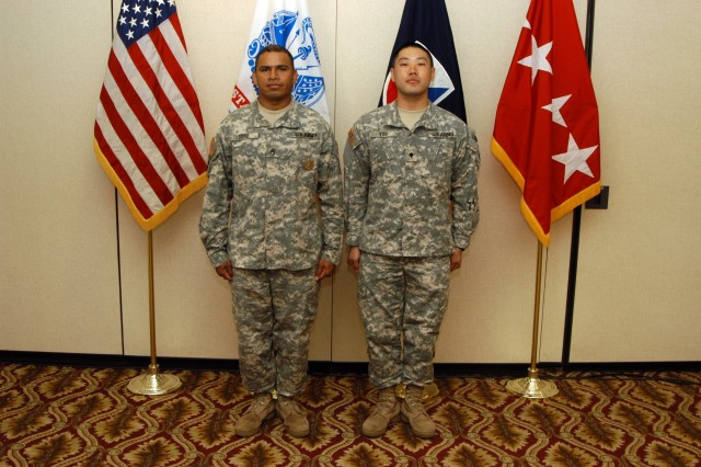 (Pictured left to right) AMC 2007 Noncommissioned Officer of the Year Staff Sgt. Jorge R. Toro and Soldier of the Year Spc. Samuel Yoo.