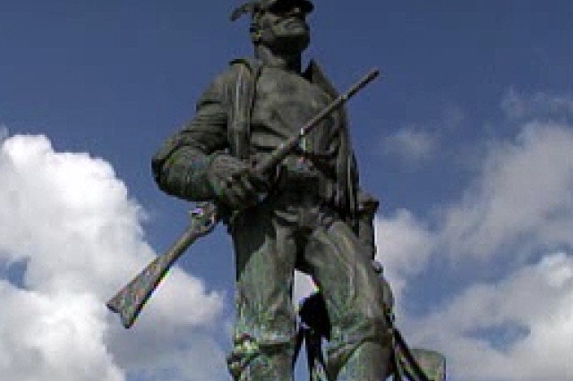 A memorial statue at the Buffalo Soldier Legacy Plaza.