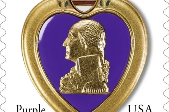 The U.S. Postal Service issued the 41-cent Purple Heart stamp for public sale Aug. 7.