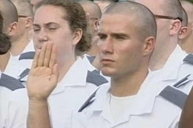 New U.S. Military Academy cadets during their reception day oath ceremony at West Point.